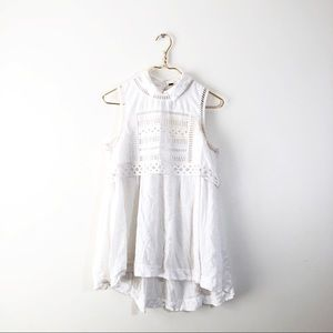 Free People White Collared Layer Tank Keyhole Lace